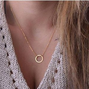 Gold Tone Single Circle Necklace